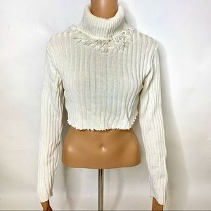 Edie & Me Cropped Frayed Turtleneck Sweater